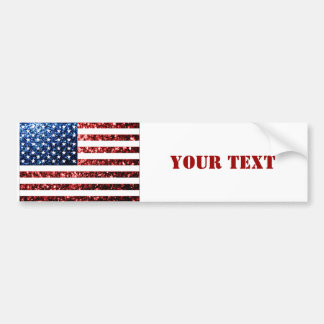Personalize USA flag red blue sparkles glitters Bumper Sticker