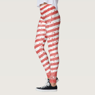 Personalize:  USA Red and White Patriotic Stripes Leggings