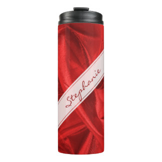 Personalize: Vibrant Faux Red Lame' Metallic Thermal Tumbler