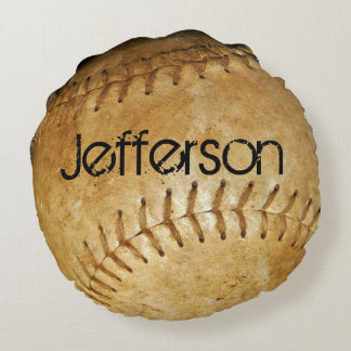 Personalize Vintage White Baseball White stitching Round Cushion