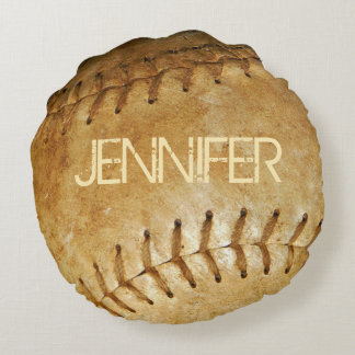 Personalize Vintage White Softball White stitching Round Cushion