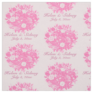 Personalize Wedding Fabric Pink Roses
