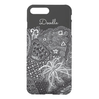 Personalize: White Ink on Black Fun Doodle Art iPhone 8 Plus/7 Plus Case
