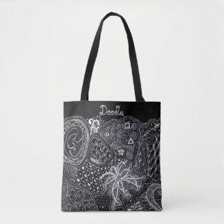 Personalize: White Ink on Black Random Doodle Art Tote Bag