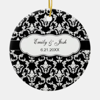 Personalize White on Black Damask Ornament