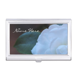 (Personalize) White Rose photo Business Card Holder
