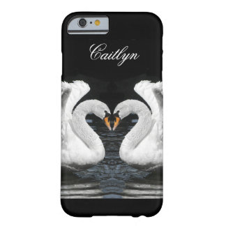 Personalize: White Swans Mirror Image Picture Barely There iPhone 6 Case
