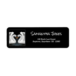 Personalize: White Swans Mirror Image Return Address Label