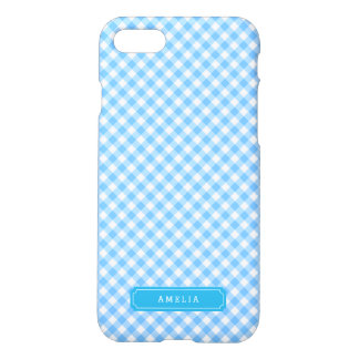 Personalize with Name Baby Blue Gingham Pattern iPhone 7 Case