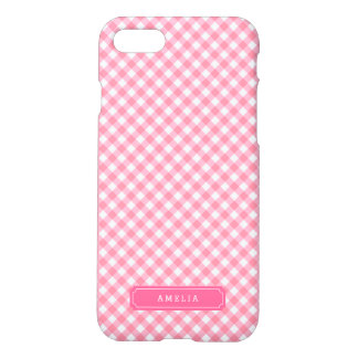 Personalize with Name Baby Pink Gingham Pattern iPhone 7 Case