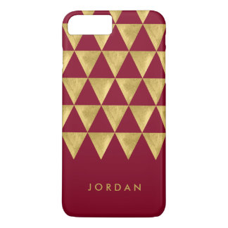 Personalize with Name Burgundy Triangle Geometric iPhone 8 Plus/7 Plus Case