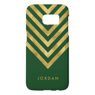 Personalize with name Green Faux Gold Geometric