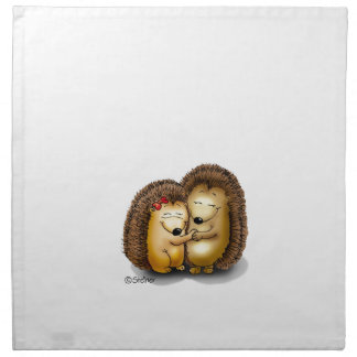 Personalize with name - Hugging Hedgehogs Printed Napkins