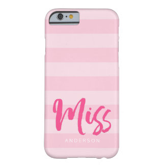 Personalize with Name Miss Preppy Pink Stripes Barely There iPhone 6 Case