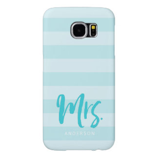 Personalize with Name Mrs Blue Stripes Preppy Samsung Galaxy S6 Cases