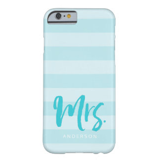 Personalize with Name Mrs Preppy Blue Stripes Barely There iPhone 6 Case