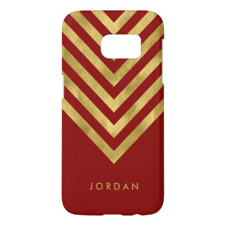 Personalize with name Red Faux Gold Geometric