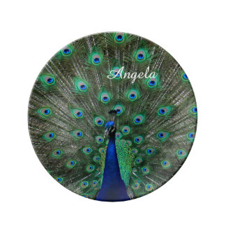 Personalize with Name Strutting Male Peacock Porcelain Plates