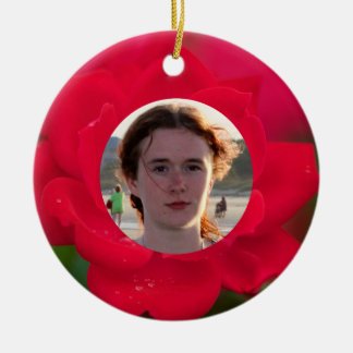 (Personalize) With Photos Red Rose in Bloom Dew Round Ceramic Decoration