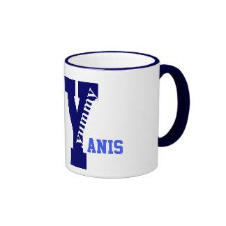 Personalize Y name initial, Yummy Ringer Coffee Mug