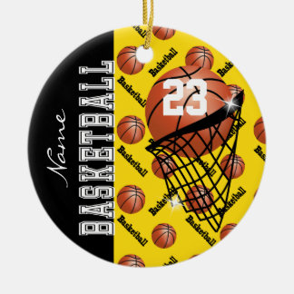 Personalize Yellow Basketball Christmas Ornament