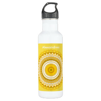Personalize:  Yellow Daffodil Floral Mandala 710 Ml Water Bottle