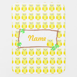 Personalize Yellow Owls Tree Branch Baby Blanket