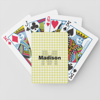 Personalize:  Yellow/White Houndstooth Pattern Bicycle Playing Cards