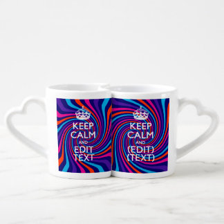 Personalize Your Keep Calm Text Multicolored Swirl Lovers Mug