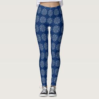 Personalize your navy blue white mandala legging