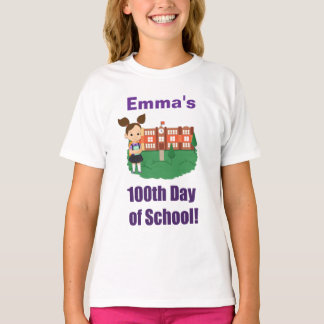 Personalized 100th Day of School, Girl, Brunette T-Shirt
