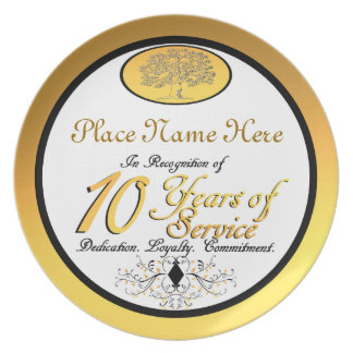 Personalized 10 Years of Service Plate/Plaque Party Plate