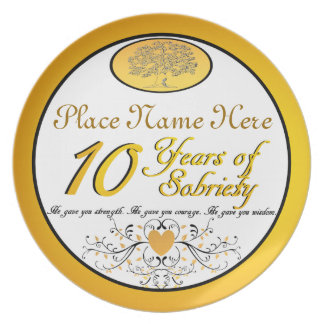 Personalized 10 Years of Sobriety Anniversary Plat Plate