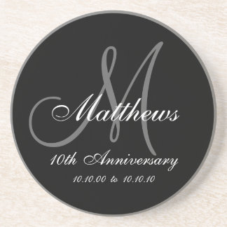 Personalized 10th Wedding Anniversary Coaster