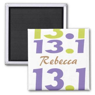 Personalized 13.1 half marathon square magnet