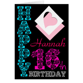 Personalized 16th Birthday Girly Black Greeting C Card