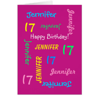 Personalized 17th Birthday Greeting Card, Hot Pink Card