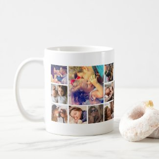Personalized 19 Square Photo Collage Coffee Mug