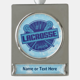 Personalized #1 Lacrosse Coach Christmas Ornament Silver Plated Banner Ornament