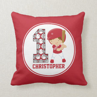 Personalized 1st Birthday Baseball Batter Red Cushions