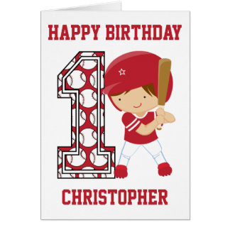 Personalized 1st Birthday Baseball Batter Red Greeting Card