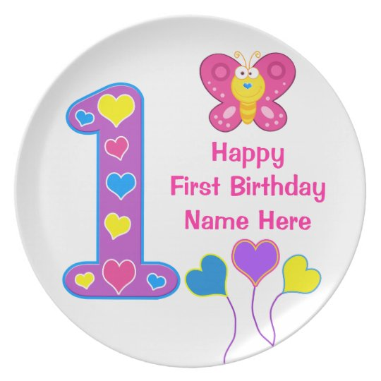 PERSONALIZED 1st Birthday Plates for Baby Girls