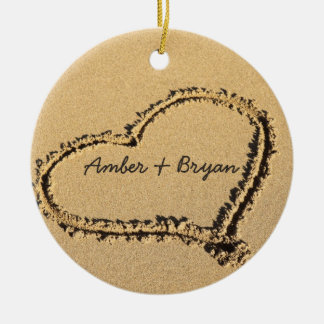 Personalized 1st Christmas Heart on Beach Wedding Ornaments