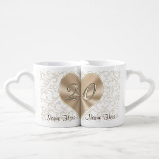 Personalized 20 year Anniversary Gifts for Couples Coffee Mug Set