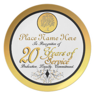Personalized 20 Years of Service Plate/Plaque Dinner Plate