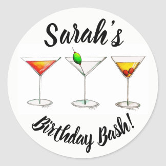 Personalized 21st Birthday Bash Party Cocktails Classic Round Sticker