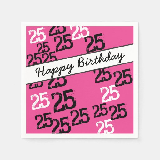 Personalized 25th Birthday Party Napkins Wild Pink Disposable Napkin