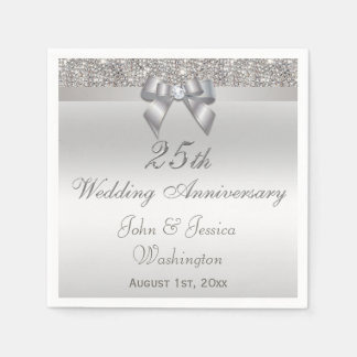 Personalized 25th Silver Wedding Anniversary Disposable Napkins