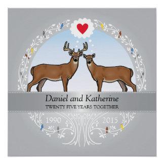 Personalized 25th Wedding Anniversary, Buck & Doe
