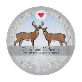 Personalized 25th Wedding Anniversary, Buck & Doe Cutting Board